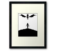 Dragon & Female Warrior - Skyrim Framed Print