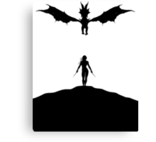 Dragon & Female Warrior - Skyrim Canvas Print