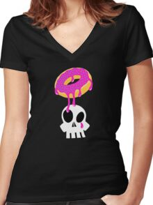 Donut Death Women's Fitted V-Neck T-Shirt
