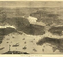 Vintage Pictorial Map of Boston (1870) by BravuraMedia