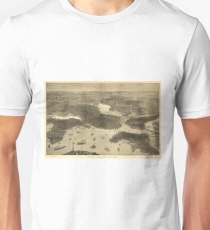 Vintage Pictorial Map of Boston (1870) Unisex T-Shirt