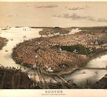 Vintage Pictorial Map of Boston (1877) by BravuraMedia