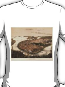 Vintage Pictorial Map of Boston (1877) T-Shirt