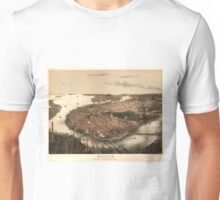 Vintage Pictorial Map of Boston (1877) Unisex T-Shirt
