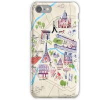 Paris illustrated Map iPhone Case/Skin