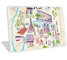 Paris illustrated Map Laptop Skin