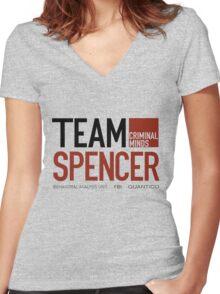 Team Spencer Reid (Black on White) Women's Fitted V-Neck T-Shirt
