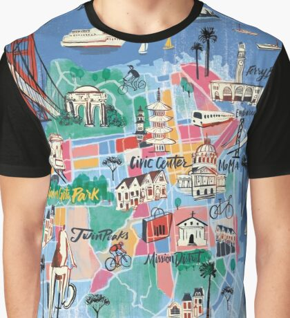 San Francisco illustrated Map Graphic T-Shirt