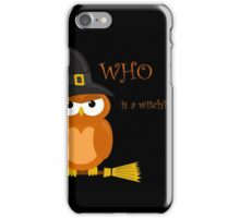 Halloween orange witch owl iPhone Case/Skin