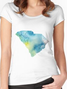 South Carolina Watercolor Women's Fitted Scoop T-Shirt