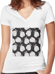 Black and white poppies pattern Women's Fitted V-Neck T-Shirt