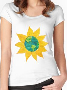 Watercolor Earth Flower Women's Fitted Scoop T-Shirt