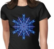Energetic Geometry -  Ice Blue Snowflake Mandala Womens Fitted T-Shirt