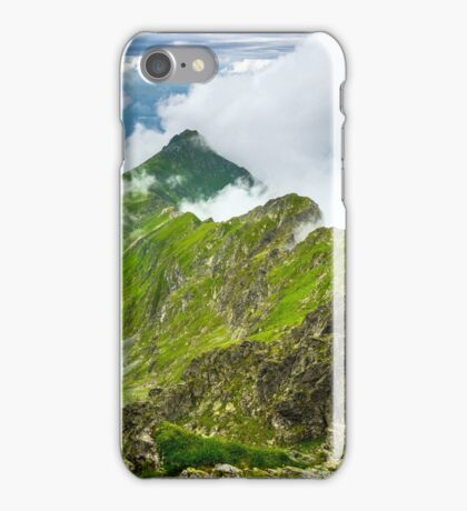 Misty rocky mountains iPhone Case/Skin