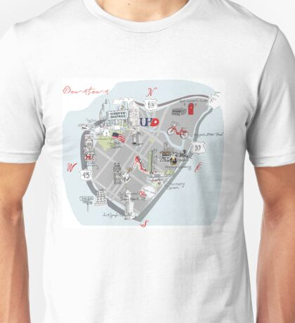 Downtown Houston Souvenir Map Unisex T-Shirt