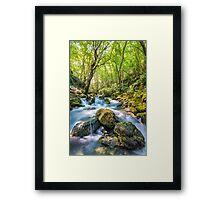 River flowing through rocks Framed Print