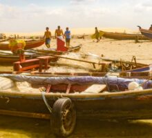 Boats at Sand at Beach of Jericoacoara Brazil Sticker
