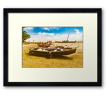 Boats at Sand at Beach of Jericoacoara Brazil Framed Print