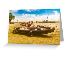 Boats at Sand at Beach of Jericoacoara Brazil Greeting Card