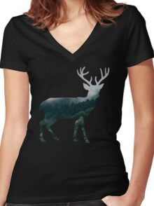 Buck Deer with Misty Evergreen Forest Woods Silhouette - Spirit of the Wild .  Women's Fitted V-Neck T-Shirt