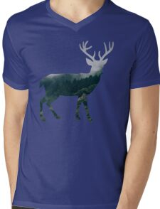 Buck Deer with Misty Evergreen Forest Woods Silhouette - Spirit of the Wild .  Mens V-Neck T-Shirt
