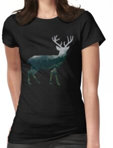 Buck Deer with Misty Evergreen Forest Woods Silhouette - Spirit of the Wild .  Womens Fitted T-Shirt