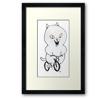 Cat on a Bicycle - Black & White Framed Print