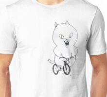Cat on a Bicycle - Black & White Unisex T-Shirt
