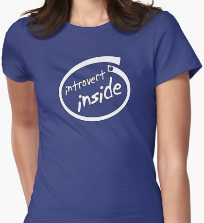 Introvert Inside (white) Womens Fitted T-Shirt