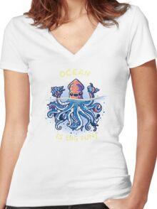 Joyful Kraken Women's Fitted V-Neck T-Shirt