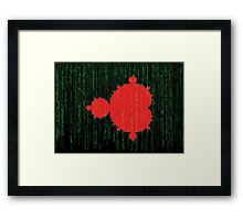 Mandelbrot Set Matrix Code (Red Black) Framed Print