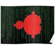 Mandelbrot Set Matrix Code (Red Black) Poster