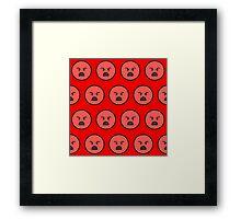 Sad emoji face on red background Framed Print