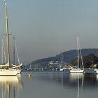 Brisbane Water Yacht  Reflections. Photo art. by sunnypicsoz