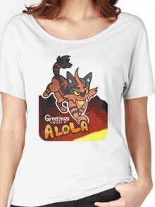 Greetings from Alola ft. Torracat - Pokémon Sun and Moon Women's Relaxed Fit T-Shirt
