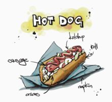 Classic Hot Dog Illustration with Ingredients One Piece - Short Sleeve