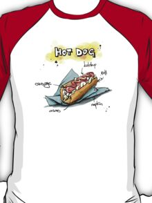 Classic Hot Dog Illustration with Ingredients T-Shirt