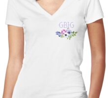 Big/Little/GBig Yellow Floral Women's Fitted V-Neck T-Shirt
