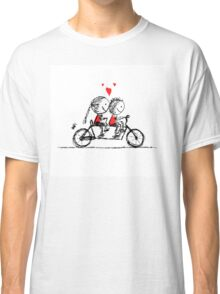 Couple cycling together, valentine sketch for your design Classic T-Shirt