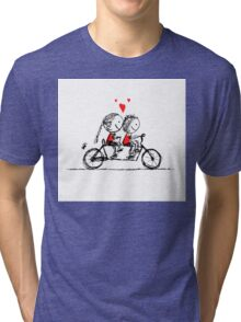 Couple cycling together, valentine sketch for your design Tri-blend T-Shirt
