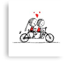 Couple cycling together, valentine sketch for your design Canvas Print