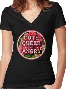 Cute, Queer and Angry Women's Fitted V-Neck T-Shirt