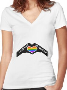 Love Has No Gender Women's Fitted V-Neck T-Shirt