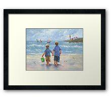 TWO LITTLE BEACH BOYS WALKING Framed Print