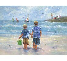 TWO LITTLE BEACH BOYS WALKING Photographic Print