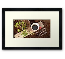 Coffee time in the garden Framed Print