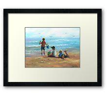 THREE LITTLE BEACH BOYS I Framed Print
