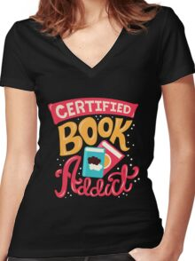 Certified Book Addict Women's Fitted V-Neck T-Shirt