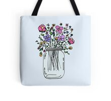 Mason Jar with Flowers Tote Bag