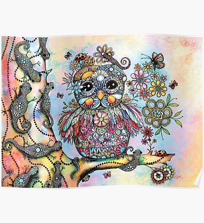 Rainbow of Peace Owl Poster